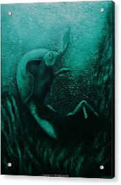 Acrylic Print featuring the painting Flight Of The Green Turtles by Kim Gauge