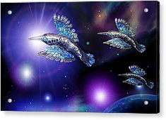 Flight Of The Silver Birds Acrylic Print by Hartmut Jager