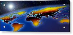 Flight Plan Marked On A Globe Acrylic Print by Panoramic Images