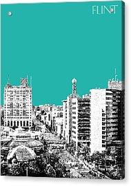Flint Michigan Skyline - Teal Acrylic Print by DB Artist