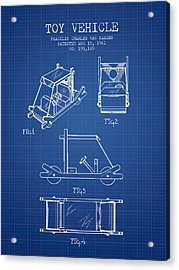 Flintstones Toy Vehicle Patent From 1961 - Blueprint Acrylic Print by Aged Pixel