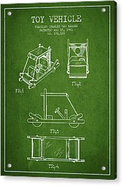 Flintstones Toy Vehicle Patent From 1961 - Green Acrylic Print by Aged Pixel