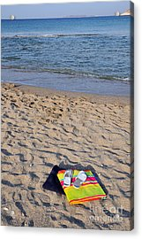 Flip Flops And Towels On Beach Acrylic Print by George Atsametakis