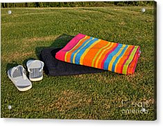 Flip Flops And Towels On Grass Acrylic Print by George Atsametakis