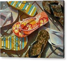 Acrylic Print featuring the painting Flip Flops by Mia Tavonatti