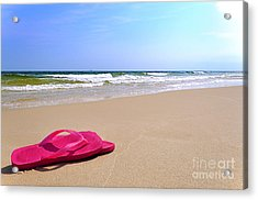 Flip Flops On Beach Acrylic Print