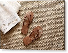 Flip Flops With Towels On Seagrass Rug Acrylic Print by Sandra Cunningham