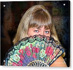 Flirting With The Fan Acrylic Print by Mariola Bitner