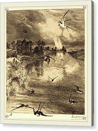 Félix Bracquemond French, 1833-1914, The Swallows Acrylic Print