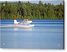 Float Plane Landing On The Lake Acrylic Print by Barbara West
