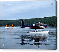 Float Planes On Keuka Acrylic Print by Joshua House