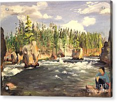 Floating Boulders On The Yellowstone River  1950s Acrylic Print