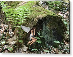 Floating Fairy In Forest Acrylic Print