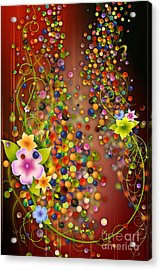 Floating Fragrances - Red Version Acrylic Print by Bedros Awak