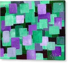 Floating Green And Purple Squares Acrylic Print by Art by Kar