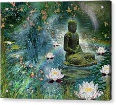 Floating Lotus Buddha Acrylic Print by Alixandra Mullins