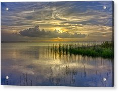 Floating Over The Lake Acrylic Print by Debra and Dave Vanderlaan