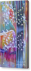 Acrylic Print featuring the painting Flock Of Cranes by Nereida Rodriguez