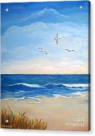 Flock Of Three - Three Birds On The Beach Acrylic Print by Shelia Kempf