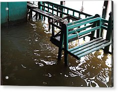 Flooded Docks Of A River Boat Taxi In Bangkok Thailand - 01133 Acrylic Print