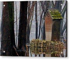 Foggy Swamp Outhouse Acrylic Print