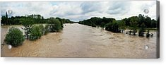 Flooding On The River Thur Acrylic Print by Michael Szoenyi