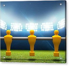 Floodlit Stadium With Foosball Players Acrylic Print