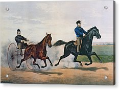 Flora Temple And Lancet Racing On The Centreville Course Acrylic Print by Currier and Ives