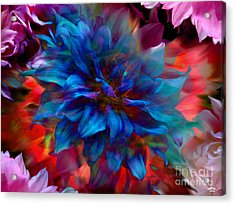 Floral Abstract Color Explosion Acrylic Print by Stuart Turnbull