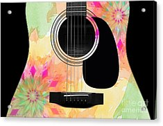 Floral Abstract Guitar 12 Acrylic Print