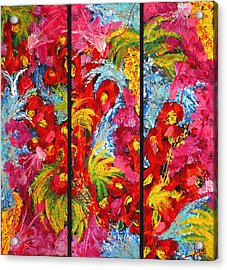 Floral Abstract Triptych On Black Background Acrylic Print