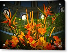 Floral Arragement In Lobby Of The Riu Cancun Hotel Acrylic Print by John Malone