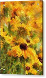 Floral Explosion Abstract Acrylic Print by Georgiana Romanovna