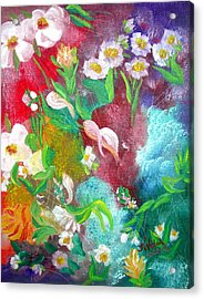 Floral Fantasy Acrylic Print by Kathern Welsh
