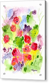 Acrylic Print featuring the painting Floral Fantasy by Paula Ayers