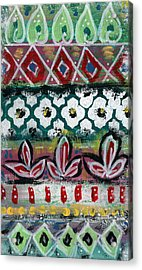 Floral Fiesta- Colorful Pattern Painting Acrylic Print by Linda Woods