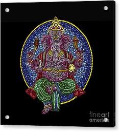 Floral Ganesha Acrylic Print by Tim Gainey