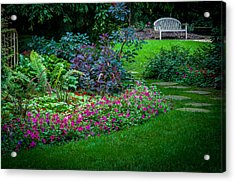Floral Garden Walk And Park Bench Acrylic Print