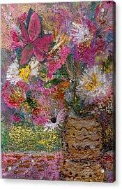 Floral Rhapsody Collage Acrylic Print by Anne-Elizabeth Whiteway