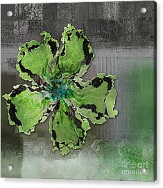Floralart - 0404 Green Acrylic Print by Variance Collections