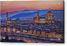 Florence At Night Acrylic Print by John Clark