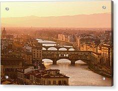 Florence City During Golden Sunset Acrylic Print by Dragos Cosmin Photos