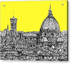 Florence Duomo In Acid Yellow Acrylic Print by Adendorff Design