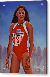 Florence Griffith - Joyner Acrylic Print by Paul Meijering