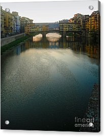 Florence Italy - Ponte Vecchio - Sun Rise Acrylic Print by Gregory Dyer