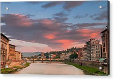 Acrylic Print featuring the photograph Florence Italy Sunset by Avian Resources