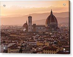Florence Skyline At Sunset Acrylic Print by Francesco Emanuele Carucci