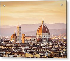 Florences Cathedral And Skyline At Acrylic Print by Filippobacci