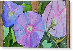 Acrylic Print featuring the painting Florence's Morning Glories by Beverley Harper Tinsley