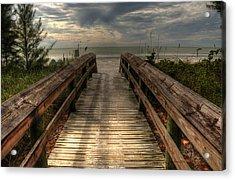 Florida Beach Entrance With A Beautiful Sky Acrylic Print